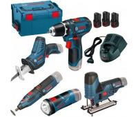 Набор 5в1 Bosch GSR 10,8-2-LI + GST 10,8-LI + GRO 10,8 V-Li + GSA 10,8 V-Li + GLI 10,8 V-LI L-Boxx в L-Boxx
