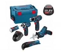 Набор 5в1 Bosch GSR 10,8-2-LI + GOP 10,8 V-LI + GDR 10,8 V-LI + GSA 10,8 V-LI + GLI в  кейсе L-Boxx