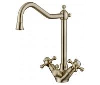 KAISER Carlson Style 44333-1, смеситель для кухни и под фильтр, крестовые ручки, керамические кранбуксы, цвет Bronze