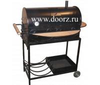 Угольно древесное барбекю большое с крышкой на колёсах