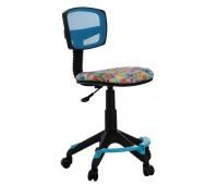 Кресло детское Бюрократ CH-299-F, LB, MARK-LB спинка сетка голубой марки колеса голубой