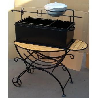 Мангал садовый с дровницей на колесах по размерам заказчика