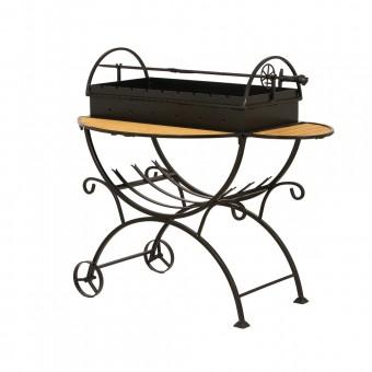 Мангал садовый с дровницей на колесах МСДК 2мм. (сталь 2 мм.)
