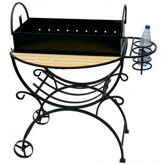 Мангал садовый с дровницей на колесах с подставками для бутылок по размерам заказчика