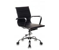 Кресло руководителя Бюрократ CH-883-LOW, BLACK низкая спинка черный искусственная кожа крестовина хром