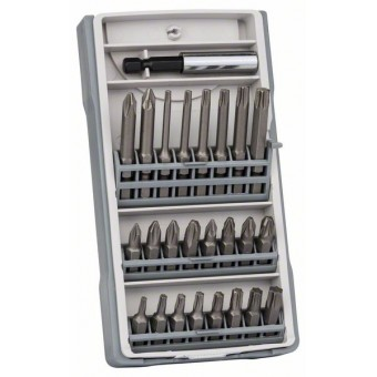 Bosch Набор из 25 бит PH1, PH2 (2 x 25мм), PH3, PZ1, PZ2 (2 x 25мм), PZ3, T10, T15, T20 (2 x 25мм), T25, T27, T30, T40, T10, T15, T20, T25, T30, T40, PH2 (1 x 49мм), PZ2 (1 x 49мм), держатель бит (2607017037)